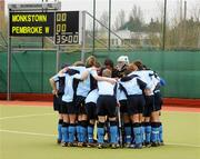 19 April 2008; The Monkstown team form a huddle before the game. Irish Senior Cup Final, Monkstown v Pembroke Wanderers, National Hockey Stadium, UCD, Belfield. Picture credit: Stephen McCarthy / SPORTSFILE *** Local Caption ***