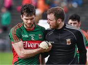 5 April 2015; Ger Cafferkey, left,  Mayo, with teammate Rob Hennelly before the start of the game. Allianz Football League, Division 1, Round 7, Mayo v Donegal. Elverys MacHale Park, Castlebar, Co. Mayo. Picture credit: David Maher / SPORTSFILE
