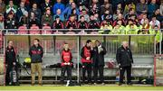 5 April 2015; Tyrone selector Tony Donnelly in conversation with team physiotherapist Mark Harte. Allianz Football League, Division 1, Round 7, Tyrone v Kerry. Healy Park, Omagh, Co. Tyrone. Picture credit: Stephen McCarthy / SPORTSFILE