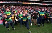 All-Ireland Club Football Final, Corofin v Erin's Isle, Croke Park. 17/3/98. The Corofin bench celebrate their victory at the final whistle. Photograph © David Maher SPORTSFILE.