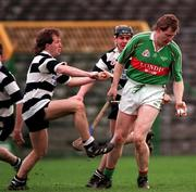 All-Ireland Club Hurling semi-final replay, Thurles 28/2/98. Birr v Clarecastle. Action features Daith' Regan Birr under pressure from Gerary Canny, left, and Stephen Sheedy, Clarecastle. Photograph © Ray McManus SPORTSFILE.
