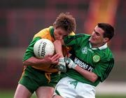 All-Ireland Club Football Final. Corofin v Erin's Isle, Croke Park. 17/3/98. Corofin's Eddie Steede in action against Erin's Isle's Ken Spratt. Photograph  Brendan Moran SPORTSFILE.