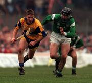 Clare V Limerick, National Hurling League, Gaelic Grounds, 23/3/98, Jamsie O'Connor Clare in action against Owen O'Neill Limerick . Photograph © Matt Browne SPORTSFILE.