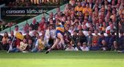 14 September 1997; James O'Connor of Clare watches his shot sail over the crossbar to score his side's winning point during the Guinness All Ireland Hurling Final match between Clare and Tipperary at Croke Park in Dublin. Photo by Ray McManus/Sportsfile