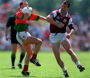 25 May 1997; Kenneth Mortimer of Mayo in action against Val Daly of Galway during the GAA Football Senior Championship Quarter-Final match between Galway and Mayo at Tuam Stadium in Tuam, Galway. Photo by Ray McManus/Sportsfile