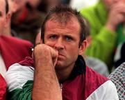 John Maughan Mayo Manager sits in the terraces due to his suspension, ( V Sligo, Connacht Football Championship   Final, Dr Hyde Park, 3/8/97. ) Photograph David Maher SPORTSFILE
