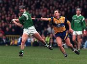 National Hurling League, Gaelic Grounds, Clare V Limerick, 22/3/98. Mike Galligan Limerick in action against Liam Doyle Clare. Photograph © Matt Browne SPORTSFILE.