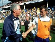 Dublin manager Paddy Cullen shakes hands with Clare manager John Maughan after the 1992 All-Ireland Football Semi-Final at Croke Park. Photograph Ray McManus SPORTSFILE