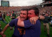 Liam Griffin, left, and Rory Kinsella celebrate Wexford's All-Ireland Hurling Final victory over Limerick at Croke Park. Pic: David Maher SPORTSFILE.
