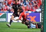 27 April 2008; Ronan O'Gara, Munster, crosses the line to score his side's first try against Saracens. Heineken Cup Semi-Final, Saracens v Munster, Ricoh Arena, Coventry, England. Picture credit: Brendan Moran / SPORTSFILE *** Local Caption ***