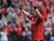 27 April 2008; Alan Quinlan, Munster, celebrates after scoring his side's second try against Saracens. Heineken Cup Semi-Final, Saracens v Munster, Ricoh Arena, Coventry, England. Picture credit: Brendan Moran / SPORTSFILE *** Local Caption ***
