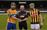 29 March 2015; Referee Cathal McAllister with team captains Patrick Donnellan, Clare, left, and Joey Holden, Kilkenny. Allianz Hurling League, Division 1A, Relegation Play-off, Kilkenny v Clare. Nowlan Park, Kilkenny. Picture credit: Ray McManus / SPORTSFILE