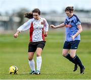 11 April 2015; Naomi Douglas, UCC, in action against Jetta Berrill, UCD. WSCAI Intervarsities Cup Final, UCD v UCC, Waterford IT, Waterford. Picture credit: Matt Browne / SPORTSFILE