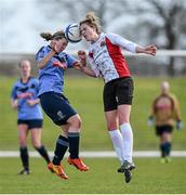 11 April 2015; Laura Lynch, UCC, in action against Orlagh Nolan, UCD. WSCAI Intervarsities Cup Final, UCD v UCC, Waterford IT, Waterford. Picture credit: Matt Browne / SPORTSFILE