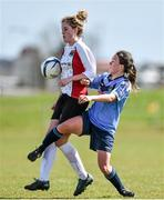 11 April 2015; Laura Lynch, UCC, in action against Ciara Grant, UCD. WSCAI Intervarsities Cup Final, UCD v UCC, Waterford IT, Waterford. Picture credit: Matt Browne / SPORTSFILE