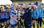 11 April 2015; UCD captain Ciara Grant is presented with the cup by Mark Scanlon from the FAI. WSCAI Intervarsities Cup Final, UCD v UCC, Waterford IT, Waterford. Picture credit: Matt Browne / SPORTSFILE