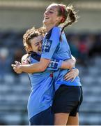 11 April 2015; UCD players Jetta Berrill, left, and Emily Cahill celebrate after the final whistle. WSCAI Intervarsities Cup Final, UCD v UCC, Waterford IT, Waterford. Picture credit: Matt Browne / SPORTSFILE