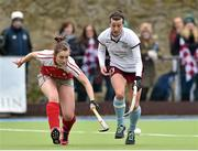 12 April 2015; Niamh Small, Loreto, in action against Grace Irwin, Pegasus. Irish Hockey League 2015, Women's Final, Pegasus v Loreto, Grange Road, Rathfarnham, Dublin. Picture credit: Matt Browne / SPORTSFILE