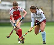 12 April 2015; Elena Tice, Loreto, in action against Alex Speers, Pegasus. Irish Hockey League 2015, Women's Final, Pegasus v Loreto, Grange Road, Rathfarnham, Dublin. Picture credit: Matt Browne / SPORTSFILE