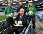 15 April 2015; Minister of State for Tourism and Sport, Michael Ring T.D, today announced an investment package of €7.4 million from the Irish Sports Council to support grass roots development in rugby, football and Gaelic games. Pictured are Minister of State for Tourism and Sport, Michael Ring T.D with. from left, Marie Louise Reilly, from the Ireland ladies rugby team, Charlie Harrison, Sligo footballer, and Republic of Ireland International Julie Ann Russell. Croke Park, Dublin. Picture credit: Matt Browne / SPORTSFILE