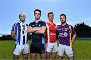 16 April 2015; In attendance at the 2015 Dublin Club Senior Hurling Championships launch are, from left to right, Ballyboden St Endas' Stephen Hiney, St Judes' Danny Sutcliffe, Cuala's Mark Schutte and Kilmacud Crokes ' Niall Corcoran. Parnell Park, Dublin. Picture credit: Ramsey Cardy / SPORTSFILE