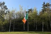 16 April 2015; The tricolour flies at half-mast in honour of the late Dave Billings. Annual Rugby Colours, UCD v Trinity. UCD Bowl, Belfield, Dublin. Picture credit: Pat Murphy / SPORTSFILE