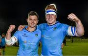 16 April 2015; UCD's Sam Coghlan Murray, left, and James Tracy celebrate after the game. Annual Rugby Colours, UCD v Trinity. UCD Bowl, Belfield, Dublin. Picture credit: Pat Murphy / SPORTSFILE