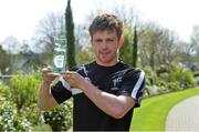 17 April 2015; Kildare U21 footballer Niall Kelly with his EirGrid Player of the Month Award for March, awarded for his outstanding performances during the month in the EirGrid GAA U21 Football Leinster Championship. Herbert Park Hotel, Dublin. Picture credit: Piaras O Midheach / SPORTSFILE
