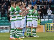 17 April 2015; Shamrock Rovers players stand for a minute's applause in memory of former Shamrock Rovers player and manager Ray Treacy. SSE Airtricity League Premier Division, Shamrock Rovers v Dundalk. Tallaght Stadium, Tallaght, Co. Dublin. Picture credit: Matt Browne / SPORTSFILE