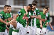 17 April 2015; Kieran Djilali, Cork City, is congratulated by team-mate John Kavanagh, right, after scoring his side's second goal. SSE Airtricity League Premier Division, Drogheda United v Cork City. United Park, Drogheda, Co. Louth. Picture credit: Paul Mohan / SPORTSFILE