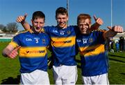 18 April 2015; Tipperary's Jimmy Feehan, left, Liam Casey, centre, and Josh Keane following their side's victory. EirGrid GAA All-Ireland U21 Football Championship Semi-Final, Dublin v Tipperary. O'Connor Park, Tullamore, Co. Offaly. Picture credit: Ramsey Cardy / SPORTSFILE