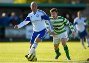 18 April 2015; Ian Barnes, Clonmel Celtic, in action against Paul Murphy, Sheriff YC.  FAI Aviva Junior Cup Semi-Final, Clonmel Celtic v Sheriff YC. Cooke Park, Tipperary Town, Co. Tipperary. Picture credit: Diarmuid Greene / SPORTSFILE