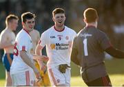 18 April 2015; Tyrone's Cathal McShan, centre, celebrates at the final whistle with teammates Colm Byrne and Sean Fox. EirGrid GAA All-Ireland U21 Football Championship Semi-Final, Tyrone v Roscommon. Markievicz Park, Sligo. Picture credit: Oliver McVeigh / SPORTSFILE
