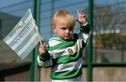 18 April 2015; Sheriff YC supporter Jude Murphy, aged 2, son of captain Paul Murphy, at the game.  FAI Aviva Junior Cup Semi-Final, Clonmel Celtic v Sheriff YC. Cooke Park, Tipperary Town, Co. Tipperary. Picture credit: Diarmuid Greene / SPORTSFILE