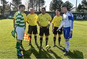 18 April 2015; Referee Gary Fitzgerald performs the pre-match coin toss in the company of Sheriff YC captain Paul Murphy and Clonmel Celtic captain Craig Condon.  FAI Aviva Junior Cup Semi-Final, Clonmel Celtic v Sheriff YC. Cooke Park, Tipperary Town, Co. Tipperary. Picture credit: Diarmuid Greene / SPORTSFILE