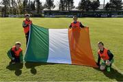 18 April 2015; Flagbearers before the game.  FAI Aviva Junior Cup Semi-Final, Clonmel Celtic v Sheriff YC. Cooke Park, Tipperary Town, Co. Tipperary. Picture credit: Diarmuid Greene / SPORTSFILE