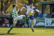 18 April 2015; Sean O'Hara, Clonmel Celtic, in action against Paul Murphy, Sheriff YC.  FAI Aviva Junior Cup Semi-Final, Clonmel Celtic v Sheriff YC. Cooke Park, Tipperary Town, Co. Tipperary. Picture credit: Diarmuid Greene / SPORTSFILE