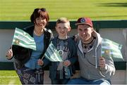 18 April 2015; Sheriff YC supporters Vanessa Byrne, Jake Byrne, aged 6, and Mark Lynch.  FAI Aviva Junior Cup Semi-Final, Clonmel Celtic v Sheriff YC. Cooke Park, Tipperary Town, Co. Tipperary. Picture credit: Diarmuid Greene / SPORTSFILE