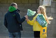 18 April 2015; A Clonmel Celtic supporter gets a flag before the game.  FAI Aviva Junior Cup Semi-Final, Clonmel Celtic v Sheriff YC. Cooke Park, Tipperary Town, Co. Tipperary. Picture credit: Diarmuid Greene / SPORTSFILE