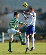 18 April 2015; Brian Waters, Clonmel Celtic, in action against Paul Murphy, Sheriff YC.  FAI Aviva Junior Cup Semi-Final, Clonmel Celtic v Sheriff YC. Cooke Park, Tipperary Town, Co. Tipperary. Picture credit: Diarmuid Greene / SPORTSFILE