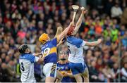 19 April 2015; Tadhg De Burca and Barry Coughlan, left, Waterford, in action against Michael Cahill, centre, and Jason Forde, Tipperary. Allianz Hurling League, Division 1 Semi-Final, Tipperary v Waterford. Nowlan Park, Kilkenny. Picture credit: Matt Browne / SPORTSFILE