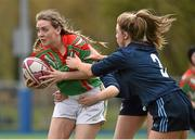 24 April 2015; Maria Doyle, St. Kevin's Dunlavin, is tackled by Aoife Keegan, St. Raphael's. Bank of Ireland Leinster School Girls 7s Senior Blitz, Donnybrook Stadium, Donnybrook, Co. Dublin. Picture credit: Cody Glenn / SPORTSFILE