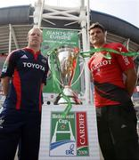 23 May 2008; Munster captain Paul O'Connell with Toulouse captain Fabien Pelous with the Heineken Cup at a press conference ahead of the Heineken Cup Final. Millennium Stadium, Cardiff, Wales. Picture credit: Richard Lane / SPORTSFILE