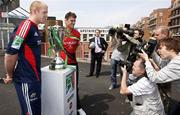 23 May 2008; Munster captain Paul O'Connell with Toulouse captain Fabien Pelous and the Heineken Cup at a press conference ahead of the Heineken Cup Final. Millennium Stadium, Cardiff, Wales. Picture credit: Richard Lane / SPORTSFILE