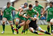 25 April 2015; Tiernan O'Halloran, Connacht, is tackled by Jonny Gray, Glasgow Warriors. Guinness PRO12, Round 20, Connacht v Glasgow Warriors. Sportsground, Galway. Picture credit: Oliver McVeigh / SPORTSFILE