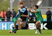 25 April 2015; Rob Harley, Glasgow Warriors, is tackled by Tiernan O'Halloran and  Bundee Aki, Connacht. Guinness PRO12, Round 20, Connacht v Glasgow Warriors. Sportsground, Galway. Picture credit: Oliver McVeigh / SPORTSFILE
