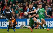 25 April 2015; Finn Russell, Glasgow Warriors, is tackled by Jack Carty, Connacht. Guinness PRO12, Round 20, Connacht v Glasgow Warriors. Sportsground, Galway. Picture credit: Oliver McVeigh / SPORTSFILE