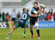 25 April 2015; Henry Pyrgos, Glasgow Warriors, is tackled by Jack Carty, Connacht. Guinness PRO12, Round 20, Connacht v Glasgow Warriors. Sportsground, Galway. Picture credit: Oliver McVeigh / SPORTSFILE