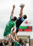 25 April 2015; Tim Swinson, Glasgow Warriors, takes the ball in the lineout ahead of Andrew Browne, Connacht. Guinness PRO12, Round 20, Connacht v Glasgow Warriors. Sportsground, Galway. Picture credit: Oliver McVeigh / SPORTSFILE