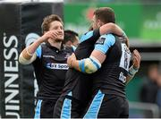 25 April 2015; Adam Ashe, Glasgow Warriors, celebrates with team mates after scoring his sides fourth and bonus point try. Guinness PRO12, Round 20, Connacht v Glasgow Warriors. Sportsground, Galway. Picture credit: Oliver McVeigh / SPORTSFILE